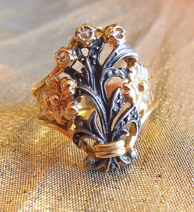 White Sapphire Portugese/Spanish Vermeil and Sterling Silver Ring
