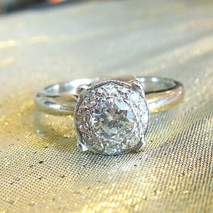 Vintage Half Carat Diamond White Gold Cluster Engagement Ring