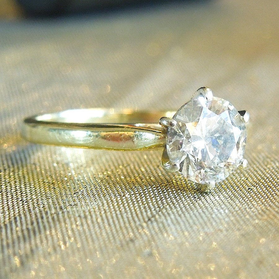 Large Estate Diamond (~1ct) Solitaire Engagement Ring in Yellow Gold