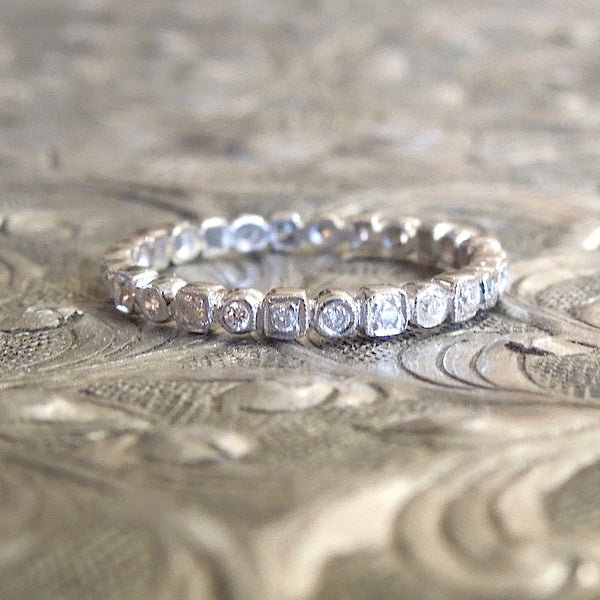 Thin Diamond and White Gold Eternity Band