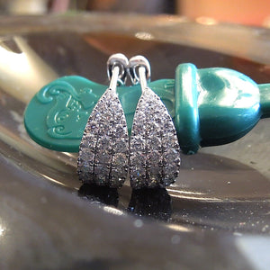 18K White Gold and Diamond Security Back Earrings