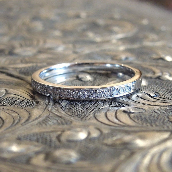 White Gold and Diamond Wedding Band