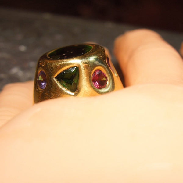 Large 18K Yellow Gold and Tourmaline Ring