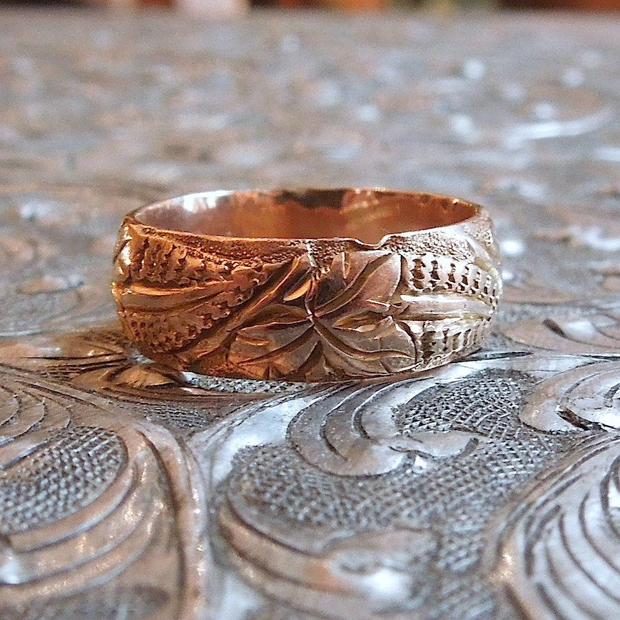 Yellow Gold Viners Ltd. Wide Floral Gold Band