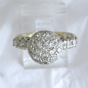 Vintage Round Diamond Cluster Ring from the 1940s