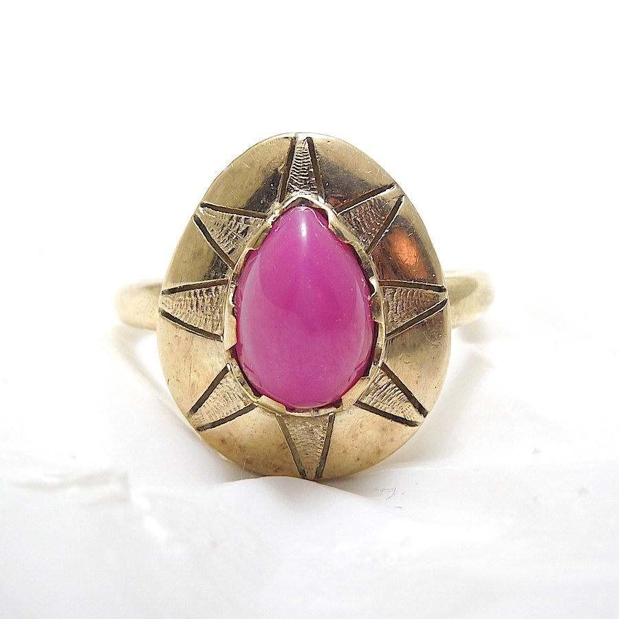 Pear Shaped Star Ruby Ring in Yellow Gold