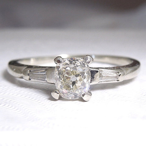 Vintage Platinum Oval Diamond with Baguettes - Engagement Ring