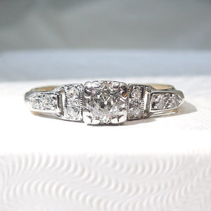 Petite Art Deco Old Mine Cut Diamond Engagement Ring - Bicolor - Gold and Platinum