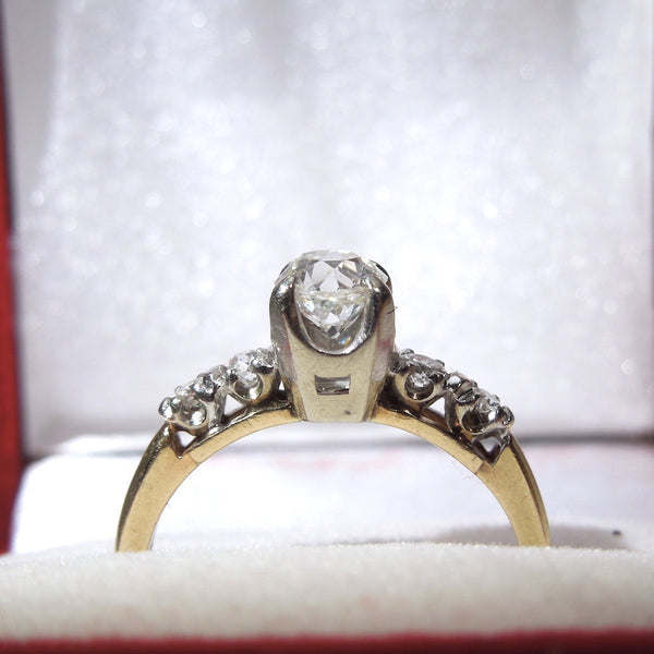 Three Quarter Carat Old Mine Cut Diamond in Vintage Yellow Gold and Platinum Ring
