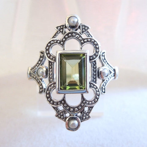 Emerald Cut Peridot in Sterling Silver Filigree Mounting with Seed Pearl