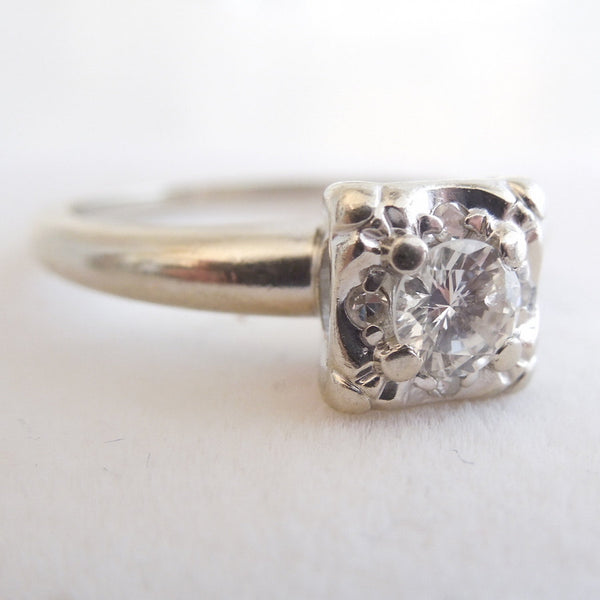 Retro 1940s Illusion Mount Diamond Ring in 14K White Gold
