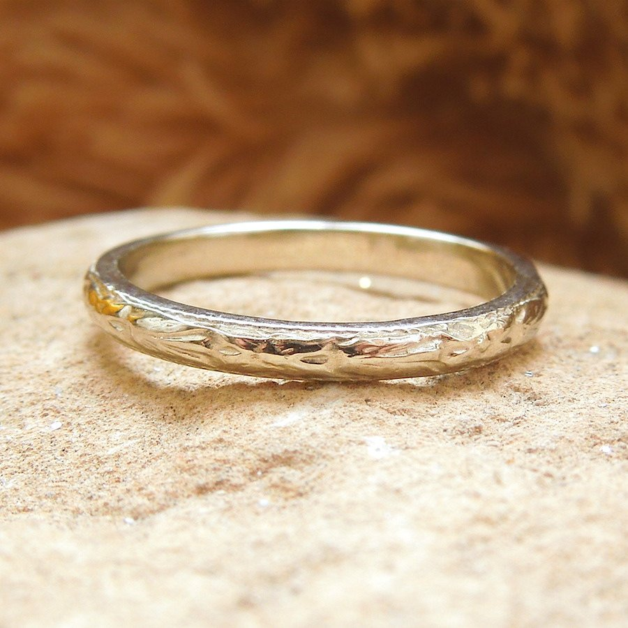 Art Deco Engraved Wedding Band in White or Rose Gold