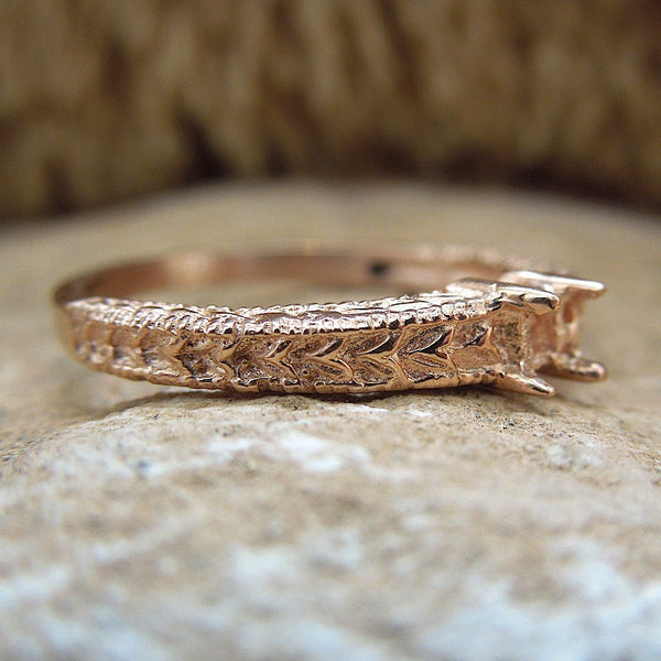 Art Deco Style 14K Gold Band - Mounting/Setting for 3mm Stone