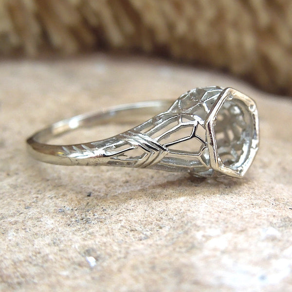 Edwardian Style White Gold or Platinum Filigree Mounting for a 1 carat Stone (6.5mm)