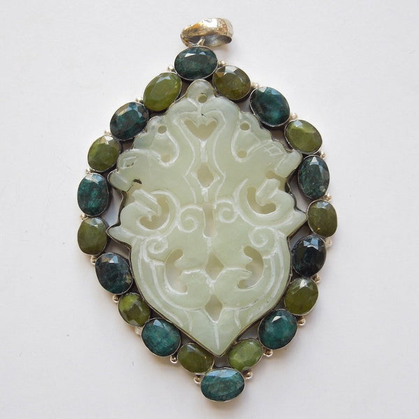 Sturdy Sterling Silver, Agate, Emerald and Olivine Pendant