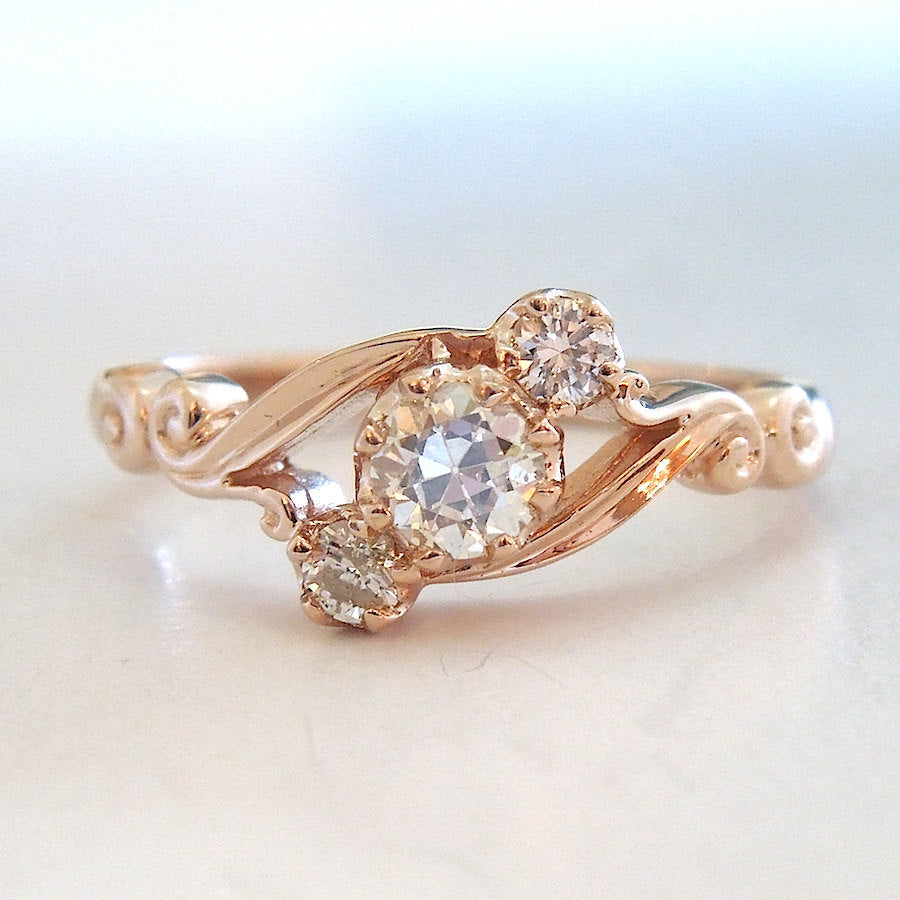 Three Stone Georgian Style Bypass Ring in Rose Gold
