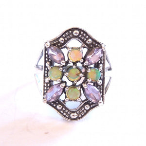 Opal and Amethyst Art Deco Style Ring in Sterling Silver