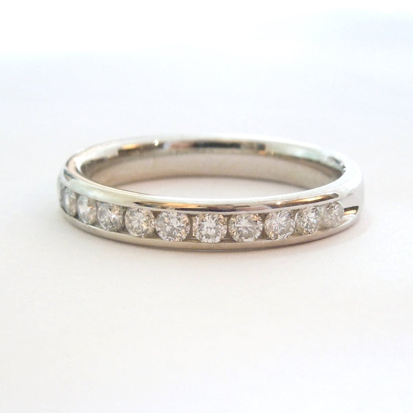 Estate Half Carat Diamond Wedding or Anniversary Band in White Gold