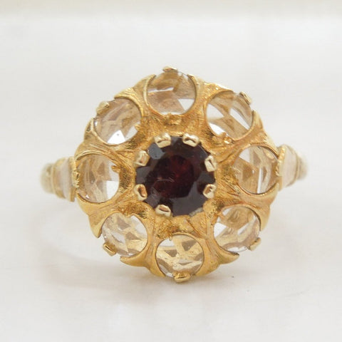 Garnet and White Sapphire Spanish Ring in Vermeil Sterling