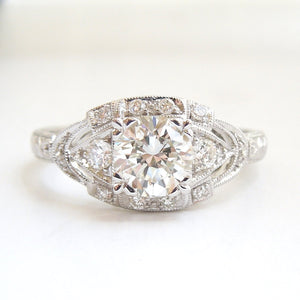 "CUSTOM ORDER: ""The Eye Ring"" - Art Deco Style Engagement Ring in White Gold"