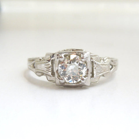 CUSTOM ORDER: Light Half Carat in 14K White Gold Art Deco Style Engagement Ring