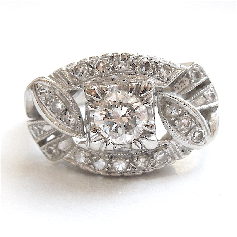 Vintage 1940s Half Carat Wide Diamond Ring in White Gold