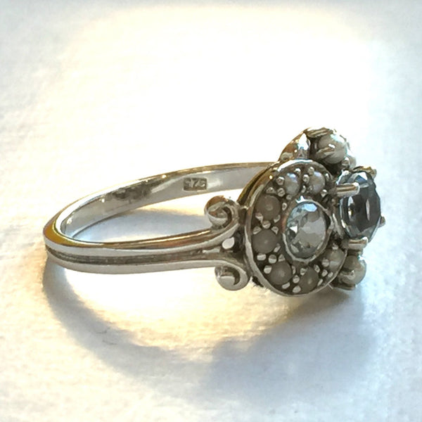 Natural Three Stone Aquamarine and Seed Pearl Silver Ring