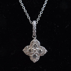 Petite Vintage Diamond Cluster Pendant in White Gold