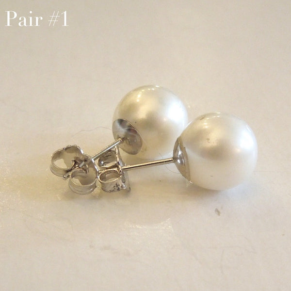 10mm South Sea Pearl Stud Earrings in 14K White Gold