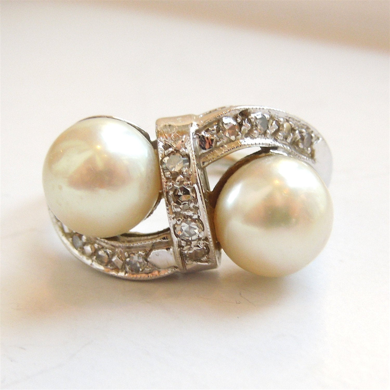 Double Pearl and Diamond Ring in 14K White Gold