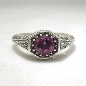 1 carat Alexandrite in Sterling Silver Filigree Mounting
