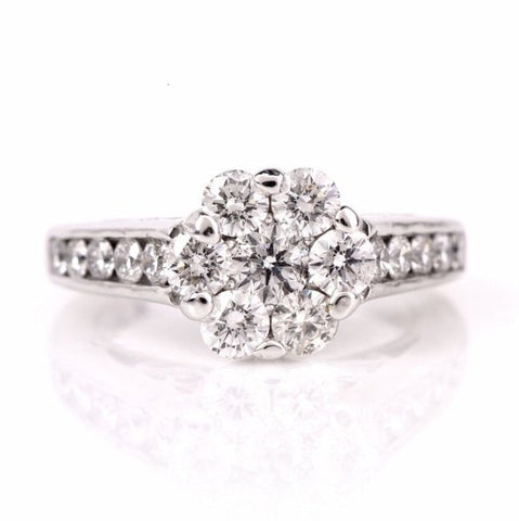 2.40ct 14K White Gold Diamond Flower Ring
