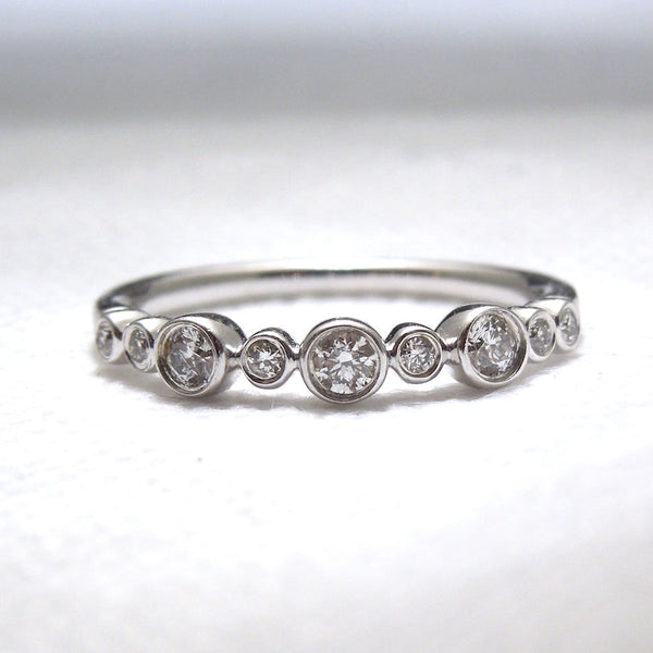 Alternating Round Diamond Half Wedding Band