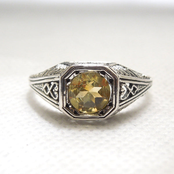 Natural 2 carat Citrine Set in Edwardian Style Filigree Mounting