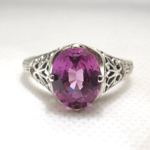 2 Carat Alexandrite Set in Art Deco Style Filigree Sterling Silver Ring