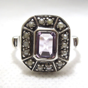 Natural 2 carat Citrine or Amethyst with Pearl Halo Set in Edwardian Style Filigree Mounting