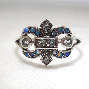 Edwardian Style Fleur-de-Lis Ring with Opal and Aquamarine