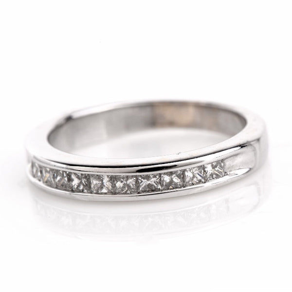 Princess Cut Diamond Wedding Band in 18K White Gold