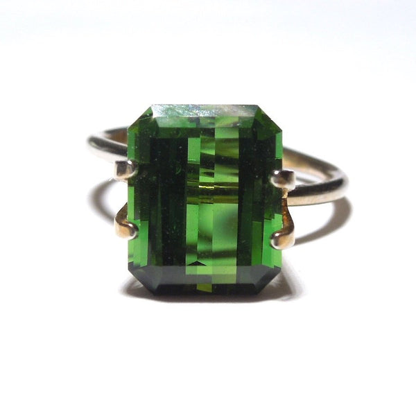 5.55 ct Emerald Cut Forest Green Tourmaline