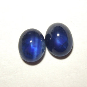 Pair of 10x8 Rich Blue Oval Cabochon Sapphires