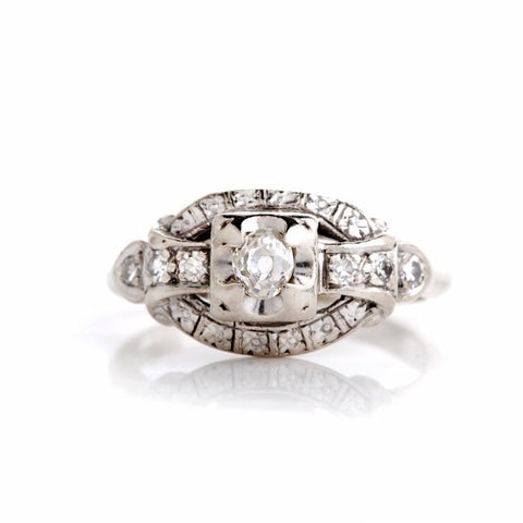 Estate White Gold Third of a Carat Diamond Engagement Ring