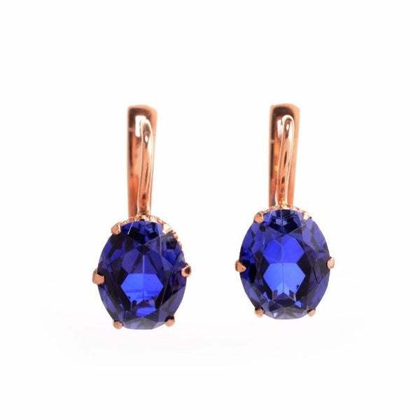 Estate Rose Gold and Oval Sapphire Dangle Earrings