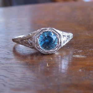 Blue Zircon in White Gold Art Deco Style Mounting