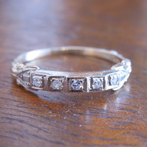 Vintage Bicolor Gold and Diamond Wedding Band