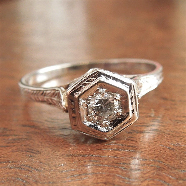 White Gold Art Deco Quarter Carat Diamond Engagement Ring