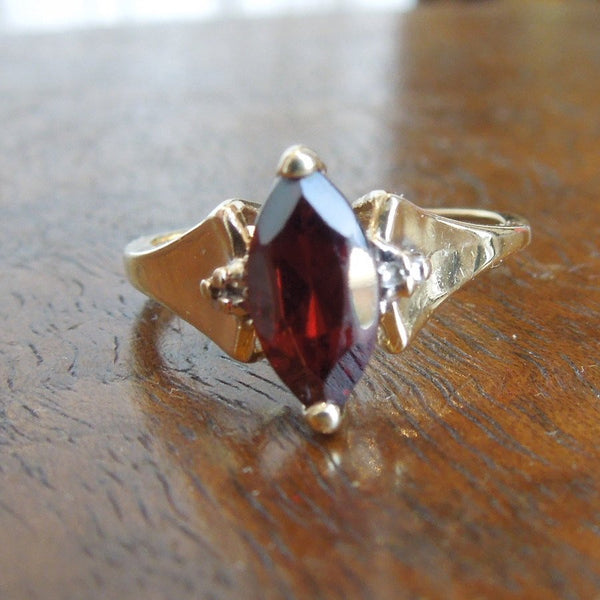 Yellow Gold Marquise Cut Garnet Ring