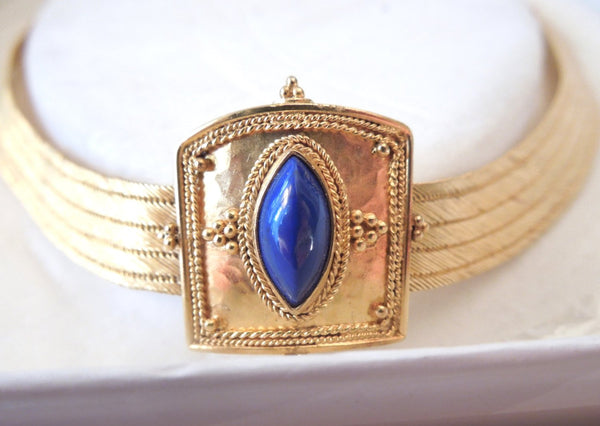 Greek 22K Yellow Gold and Lapis Lazuli Necklace (Santorini)