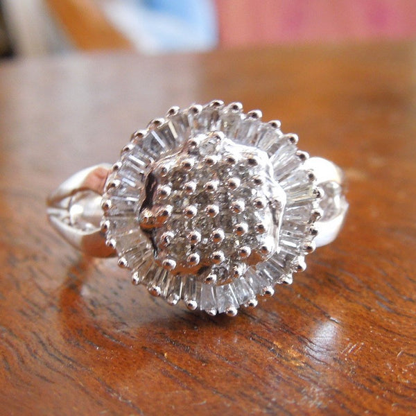 White Gold Cluster Ring with Round and Baguette Diamonds