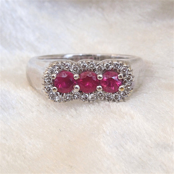Three Ruby and Diamond Ring in 18K White Gold