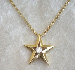 18K Yellow Gold Diamond Star Necklace